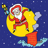 Funny santa jump over chimney under moonlight. Funny santa claus cartoon hand-drawn jump over chimney illustration Stock Photos