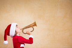 Funny Santa kid with drawn megaphone Royalty Free Stock Photo