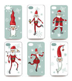 Funny Santa.Mobile phone cover  back set Stock Photos