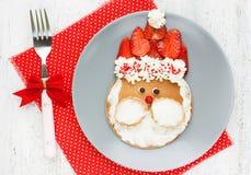 Funny santa pancake with mascarpone and strawberry Stock Photos