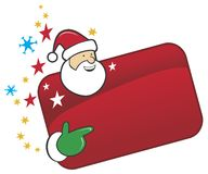 Funny santa with red banner Royalty Free Stock Photo