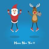 Funny Santa and reindeer in sneakers . Stock Image