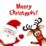 Funny Santa and Reindeer Royalty Free Stock Images