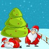 Funny Santa relaxing under Christmas Tree Royalty Free Stock Photos