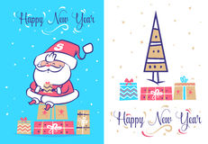 Funny santa set . Christmas greeting card background poster. Vector illustration. Royalty Free Stock Photo