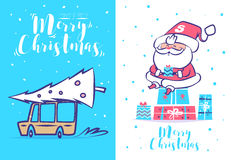 Funny santa set . Christmas greeting card background poster. Vector illustration. Stock Photography