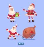 Funny santa set . Christmas greeting card Royalty Free Stock Photo