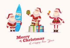 Funny santa set . Christmas greeting card Royalty Free Stock Photography