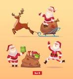 Funny santa set . Christmas greeting card Royalty Free Stock Image