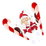 Funny Santa Skiing - Christmas Vector Illustration Stock Photos