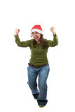 Funny santa woman celebrating christmas holiday Stock Image