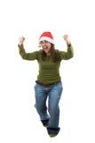 Funny santa woman celebrating christmas holiday Stock Image