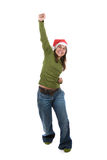 Funny santa woman celebrating christmas holiday Royalty Free Stock Images