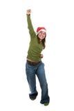 Funny santa woman celebrating christmas holiday Royalty Free Stock Images