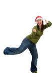 Funny santa woman celebrating christmas holiday Royalty Free Stock Image