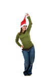 Funny santa woman with green shirt Stock Photos