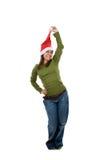 Funny santa woman with green shirt Stock Photos