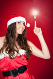Funny santa woman with idea - concept Royalty Free Stock Images