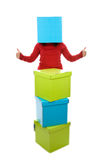 Funny santa woman with present box in the head Royalty Free Stock Photo