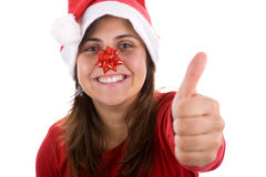 Funny santa woman with ribbon in her nose Royalty Free Stock Photo