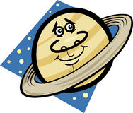 Funny saturn planet cartoon illustration Royalty Free Stock Photography