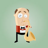 Funny saxophone player Stock Photography
