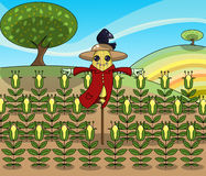 Funny scarecrow. Funny illustration about a cute scarecrow keep guard over his corn plants with a fearless crow on his hat Royalty Free Stock Photo