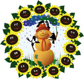 Funny scarecrow. Surrounded by birds and sunflowers hiding from the rain under a burdock Stock Image