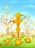 Funny scarecrow. Scarecrow in garden. Vector illustration Royalty Free Stock Photos