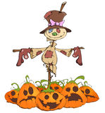 Funny scarecrow and evil pumpkins. In cartoon style Royalty Free Stock Photos