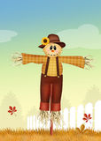 Funny scarecrow. Illustration of male scarecrow in autumn Stock Photography
