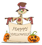 Funny scarecrow, pumpkins and Halloween. Funny scarecrow and pumpkins are invited to a Halloween Royalty Free Stock Image