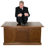 Funny Scared Businessman Office Desk Royalty Free Stock Photo