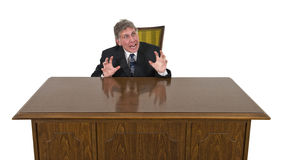 Funny Scared, Frightened, Fear Businessman Isolated Stock Images