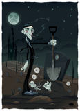 Funny scene in the cemetery. Cartoon and vector illustration Stock Photo