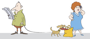 Funny scene in the street. Vector caricature. Funny scene in the street: read a man does not notice how his dog stealing sausages from a woman in conversation Stock Image