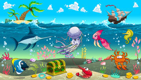 Funny scene under the sea. Royalty Free Stock Photo