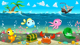 Funny scene under the sea. Vector cartoon illustration stock illustration