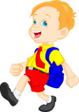 Funny school boy with bag Stock Photography