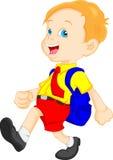Funny school boy with bag. Illustration of funny school boy with bag Stock Photography