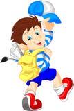 Funny school boy with bag. Illustration of funny school boy with bag Stock Photos