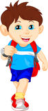 Funny school boy with bag Royalty Free Stock Images