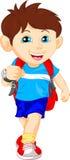 Funny school boy with bag. Illustration of cute funny school boy with bag Royalty Free Stock Images