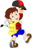 Funny school boy with bag. Illustration of cute funny school boy with bag Stock Image