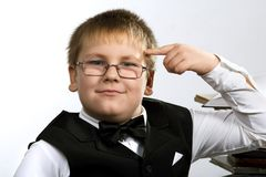 Funny school boy thinking Royalty Free Stock Images
