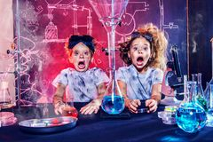 Frightened funny kids stock photos