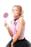 Funny school girl with bubblegum and lolipop Royalty Free Stock Images