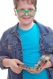 Funny schoolboy in green glasses - isolated on white Stock Images