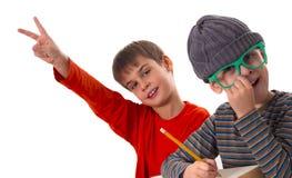Funny schoolboys Royalty Free Stock Image