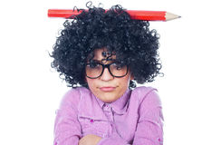 Funny schoolgirl. With a big pen-collection royalty free stock photos